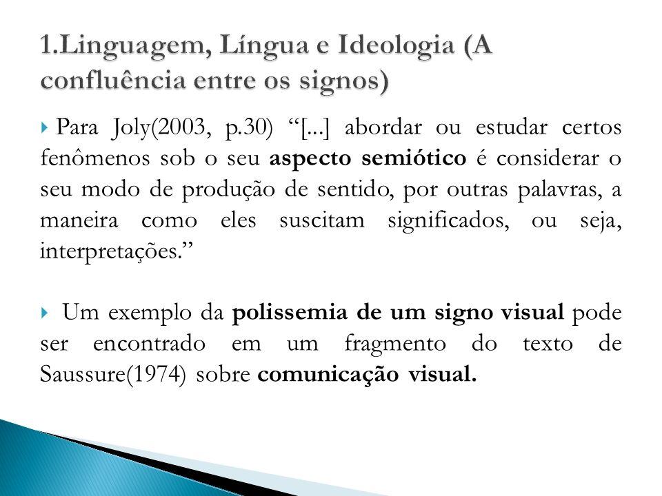 Para Joly(2003, p.30) [...] abordar ou estudar certos fenômenos sob o seu aspecto semiótico é considerar o seu modo de produção de sentido, por outras