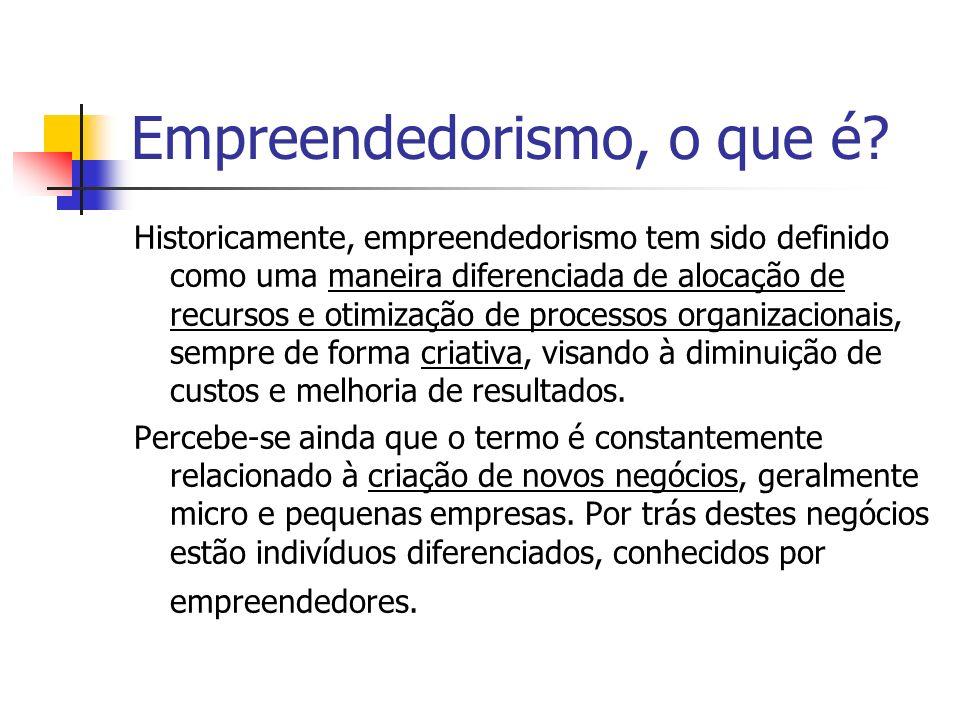 Empreendedorismo, o que é? Historicamente, empreendedorismo tem sido definido como uma maneira diferenciada de alocação de recursos e otimização de pr