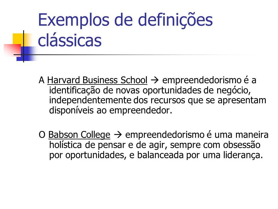 Exemplos de definições clássicas A Harvard Business School empreendedorismo é a identificação de novas oportunidades de negócio, independentemente dos