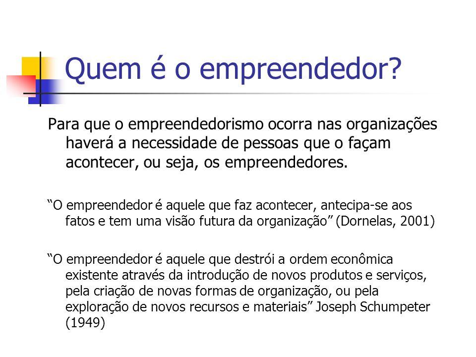 Quem é o empreendedor? Para que o empreendedorismo ocorra nas organizações haverá a necessidade de pessoas que o façam acontecer, ou seja, os empreend