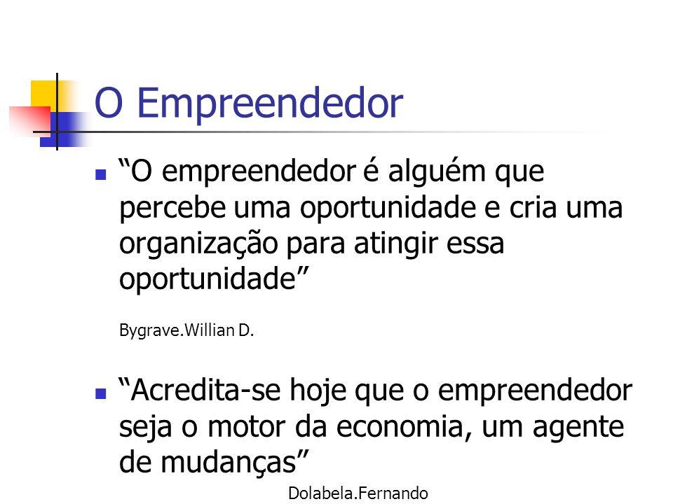 O empreendedor é alguém que percebe uma oportunidade e cria uma organização para atingir essa oportunidade Bygrave.Willian D. Acredita-se hoje que o e