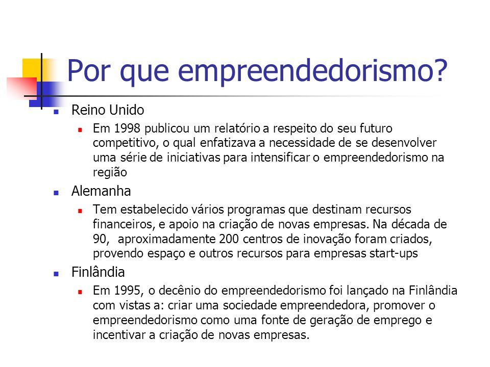 Por que empreendedorismo? Reino Unido Em 1998 publicou um relatório a respeito do seu futuro competitivo, o qual enfatizava a necessidade de se desenv