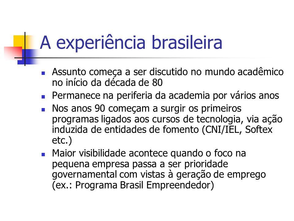 A experiência brasileira Assunto começa a ser discutido no mundo acadêmico no início da década de 80 Permanece na periferia da academia por vários ano