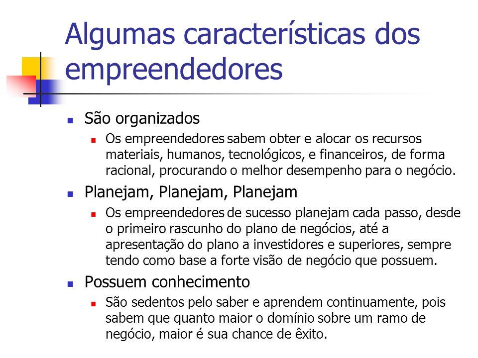 Algumas características dos empreendedores São organizados Os empreendedores sabem obter e alocar os recursos materiais, humanos, tecnológicos, e fina