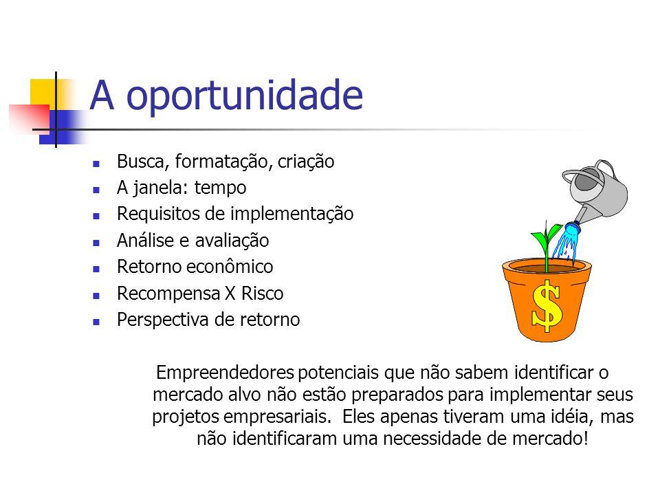 A oportunidade Busca, formatação, criação A janela: tempo Requisitos de implementação Análise e avaliação Retorno econômico Recompensa X Risco Perspec
