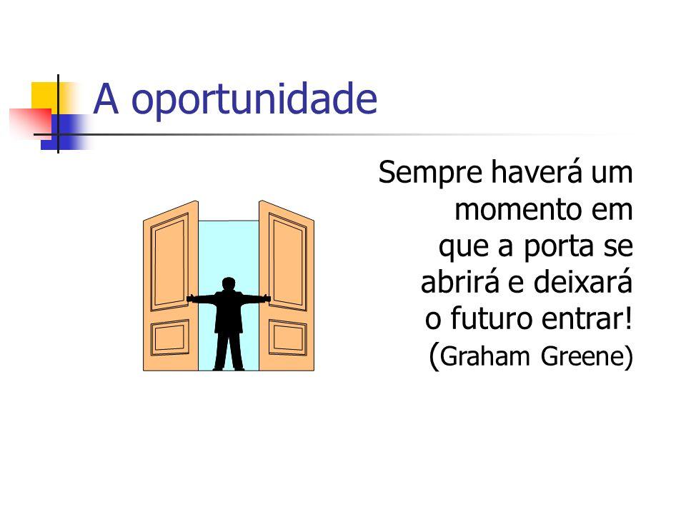 Sempre haverá um momento em que a porta se abrirá e deixará o futuro entrar! ( Graham Greene) A oportunidade