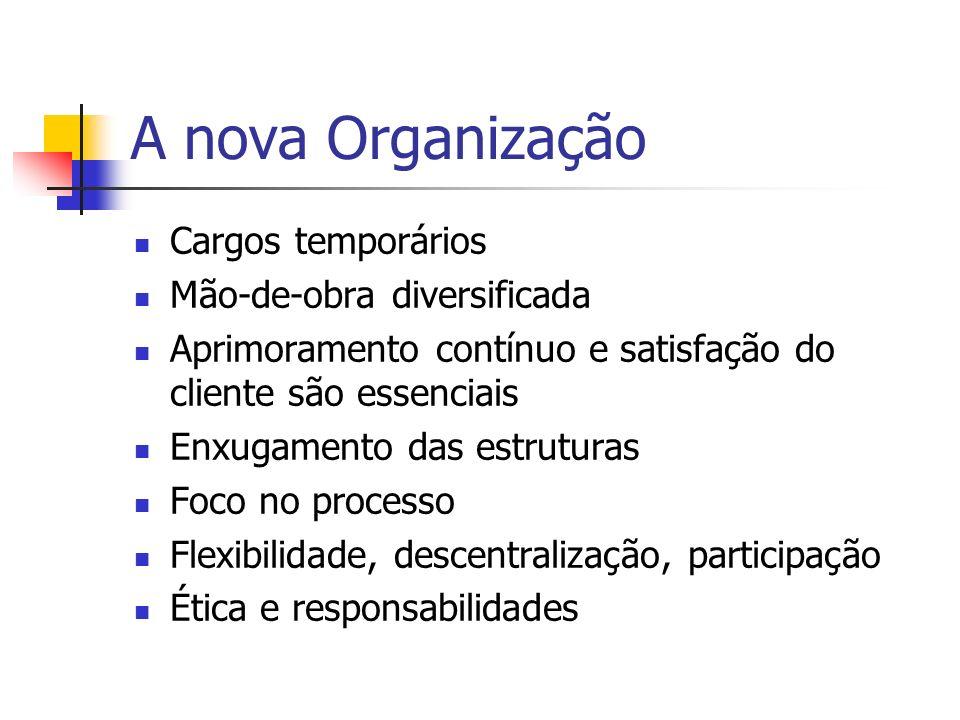A nova Organização Cargos temporários Mão-de-obra diversificada Aprimoramento contínuo e satisfação do cliente são essenciais Enxugamento das estrutur