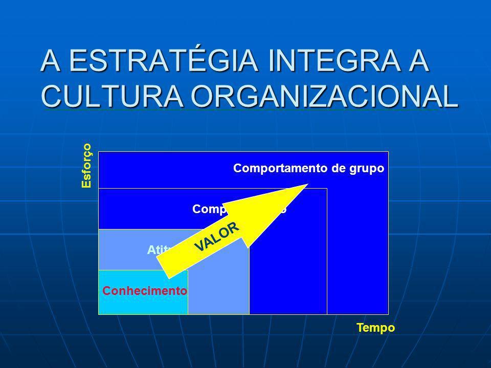 A ESTRATÉGIA INTEGRA A CULTURA ORGANIZACIONAL Conhecimento Atitude Comportamento Comportamento de grupo Tempo Esforço VALOR