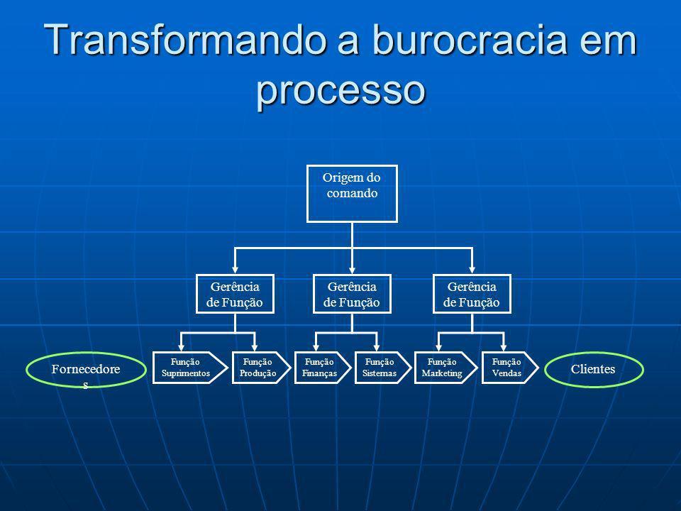 Origem do comando Função Suprimentos Fornecedore s Clientes Gerência de Função Função Marketing Função Produção Função Sistemas Função Finanças Função