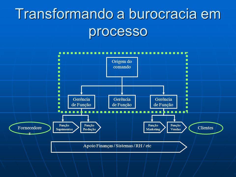 Origem do comando Função Suprimentos Fornecedore s Clientes Gerência de Função Função Marketing Função Produção Função Vendas Apoio Finanças / Sistema