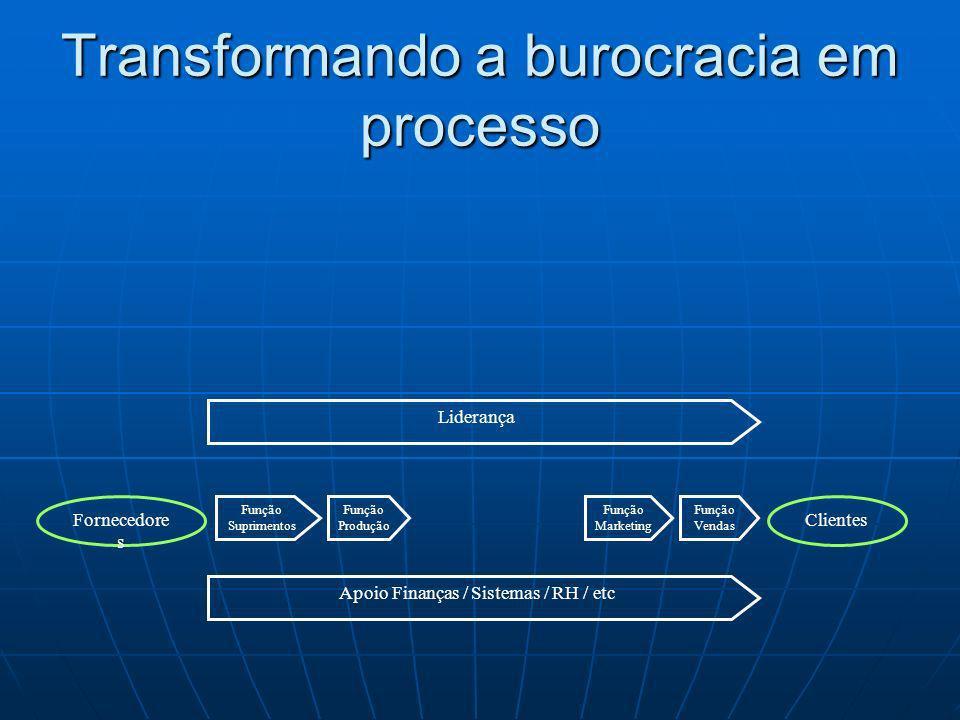Função Suprimentos Fornecedore s Clientes Função Marketing Função Produção Função Vendas Apoio Finanças / Sistemas / RH / etc Liderança Transformando