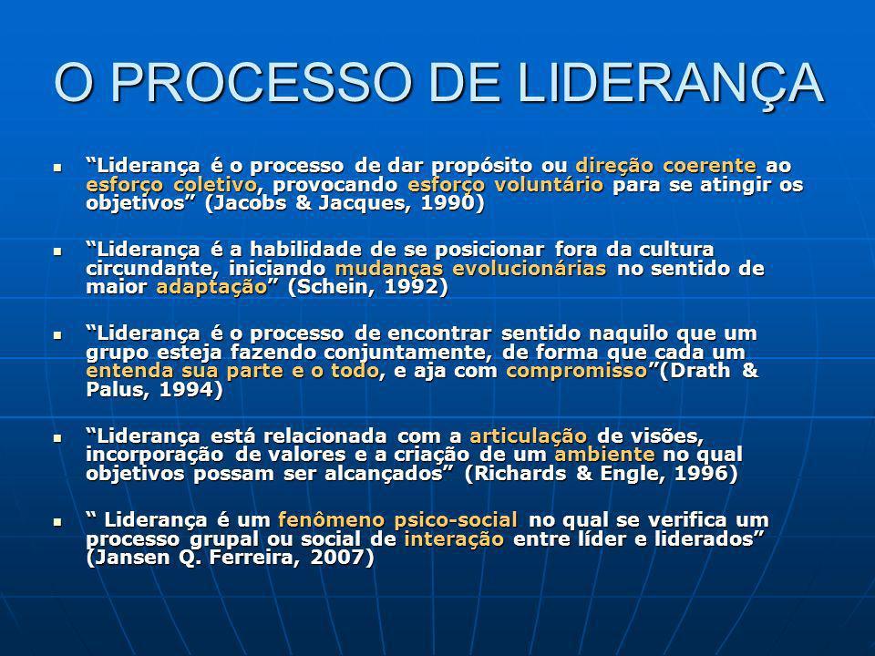 O PROCESSO DE LIDERANÇA Liderança é o processo de dar propósito ou direção coerente ao esforço coletivo, provocando esforço voluntário para se atingir
