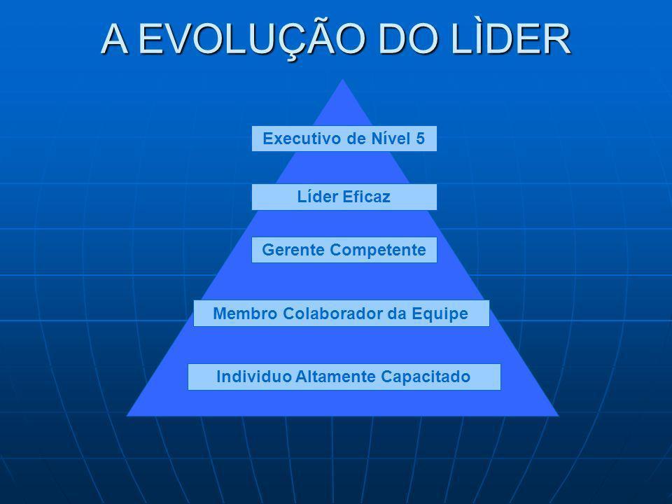 Executivo de Nível 5 Líder Eficaz Gerente Competente Membro Colaborador da Equipe Individuo Altamente Capacitado A EVOLUÇÃO DO LÌDER