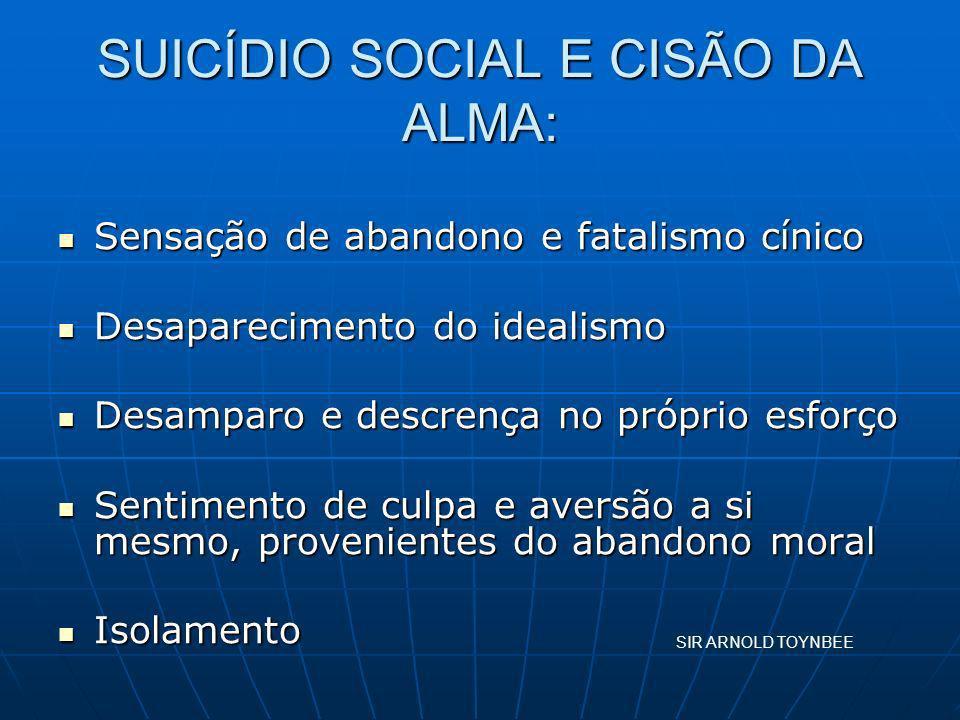 SUICÍDIO SOCIAL E CISÃO DA ALMA: Sensação de abandono e fatalismo cínico Sensação de abandono e fatalismo cínico Desaparecimento do idealismo Desapare