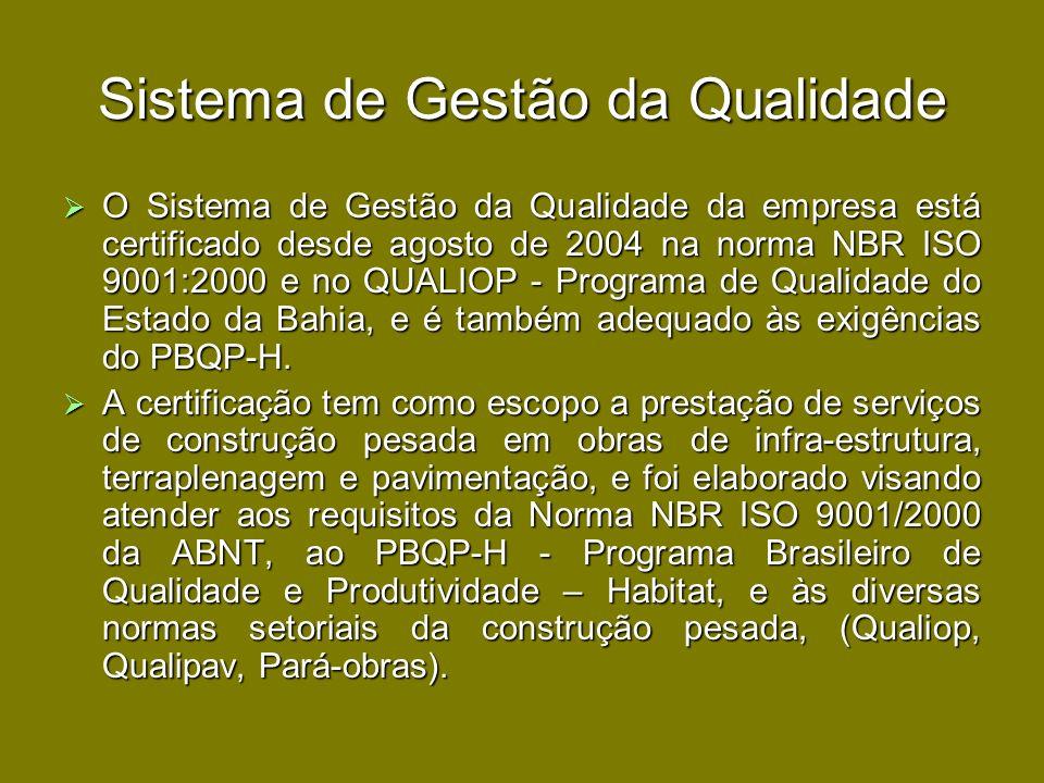 Sistema de Gestão da Qualidade O Sistema de Gestão da Qualidade da empresa está certificado desde agosto de 2004 na norma NBR ISO 9001:2000 e no QUALI