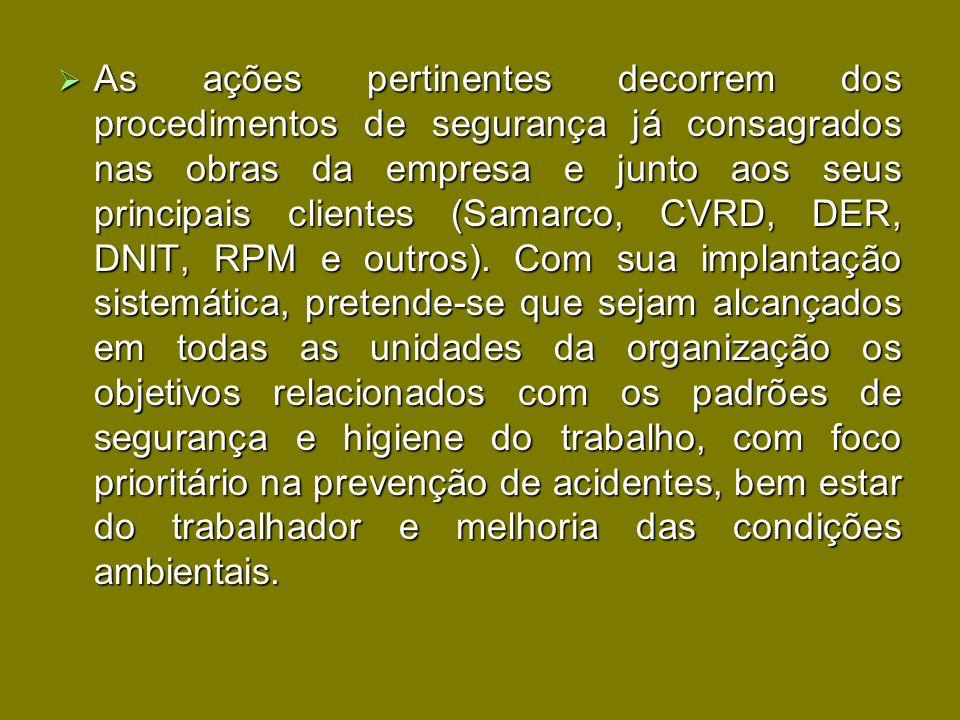 As ações pertinentes decorrem dos procedimentos de segurança já consagrados nas obras da empresa e junto aos seus principais clientes (Samarco, CVRD,