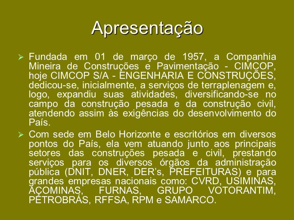 Apresentação Fundada em 01 de março de 1957, a Companhia Mineira de Construções e Pavimentação - CIMCOP, hoje CIMCOP S/A - ENGENHARIA E CONSTRUÇÕES, d