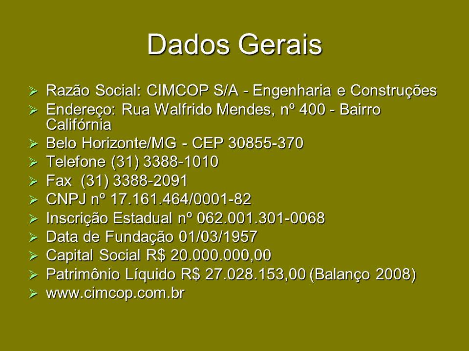 Dados Gerais Razão Social: CIMCOP S/A - Engenharia e Construções Razão Social: CIMCOP S/A - Engenharia e Construções Endereço: Rua Walfrido Mendes, nº