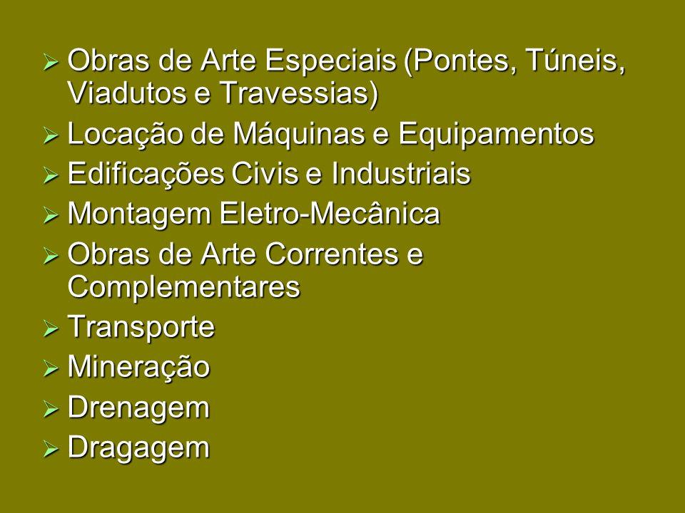 Obras de Arte Especiais (Pontes, Túneis, Viadutos e Travessias) Obras de Arte Especiais (Pontes, Túneis, Viadutos e Travessias) Locação de Máquinas e