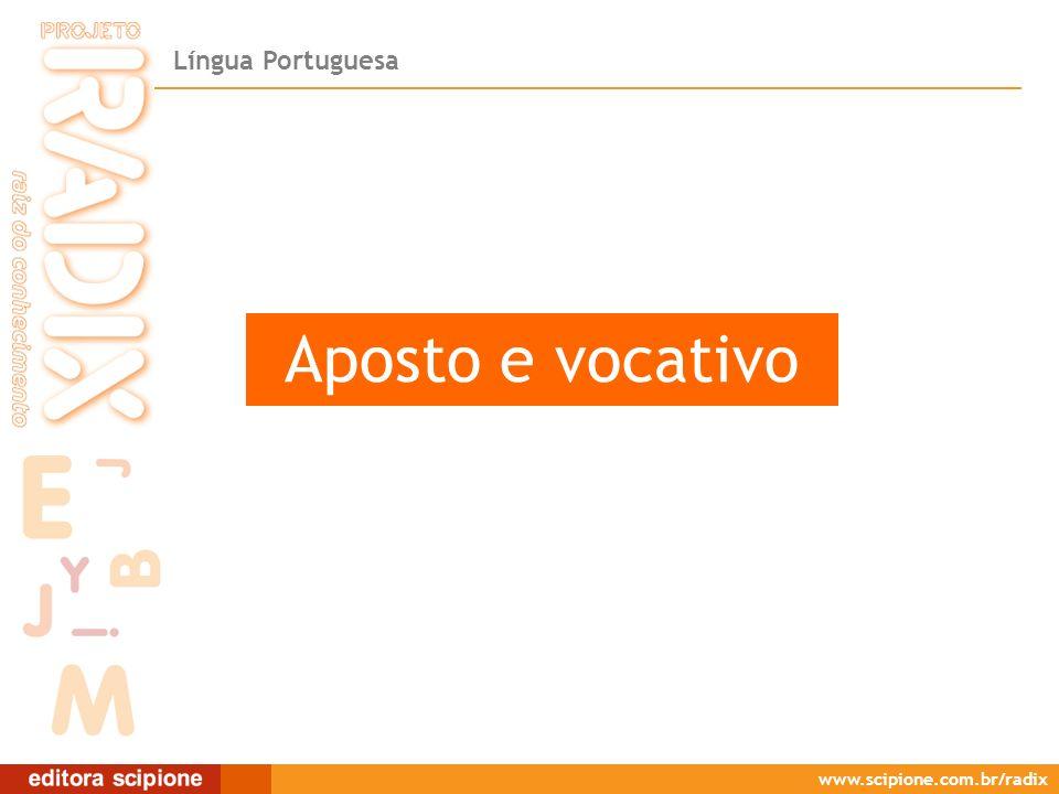 Língua Portuguesa www.scipione.com.br/radix Aposto e vocativo