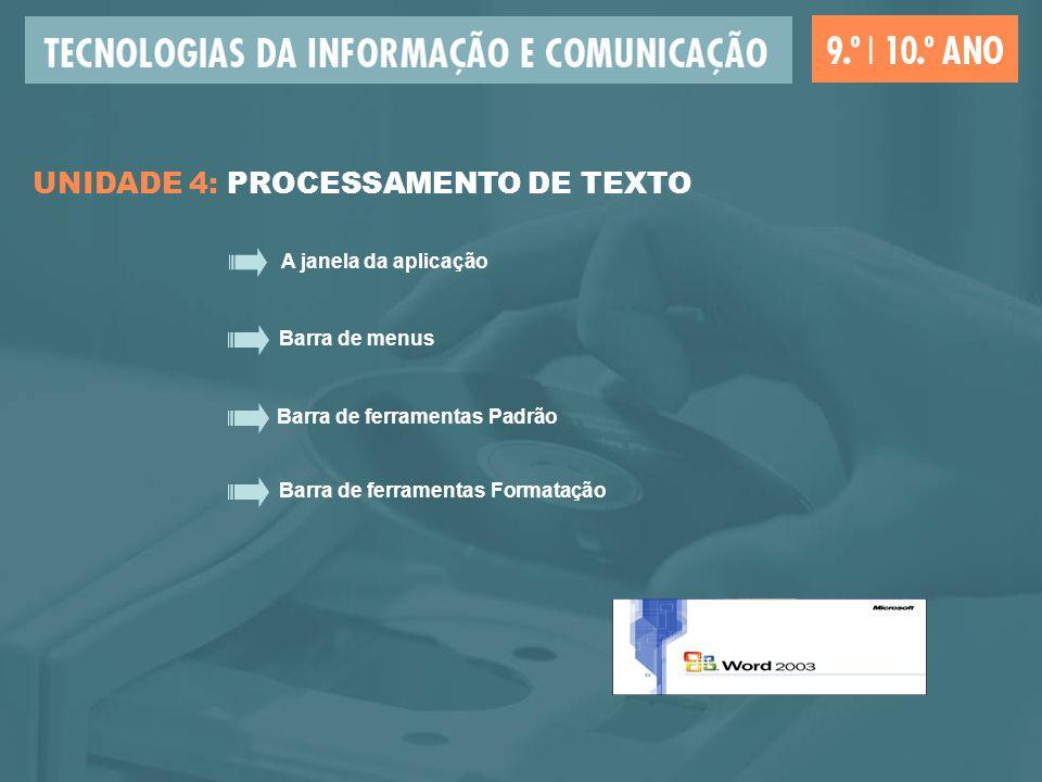 A janela da aplicação Barra de menus Barra de ferramentas Padrão Barra de ferramentas Formatação UNIDADE 4: PROCESSAMENTO DE TEXTO