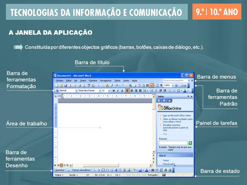 Constituída por diferentes objectos gráficos (barras, botões, caixas de diálogo, etc.). Área de trabalho Barra de estado Barra de ferramentas Desenho