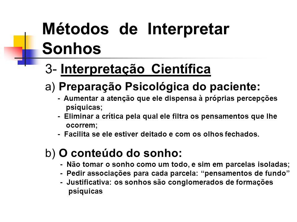 3- Interpretação Científica a) Preparação Psicológica do paciente: b) O conteúdo do sonho: Métodos de Interpretar Sonhos - Aumentar a atenção que ele