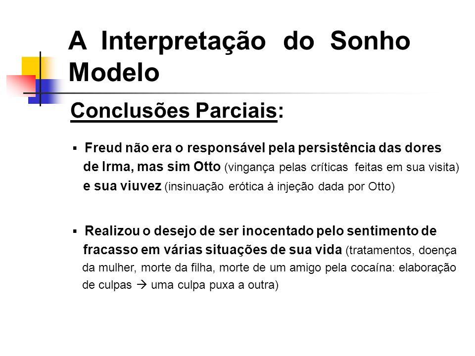 Conclusões Parciais: A Interpretação do Sonho Modelo Freud não era o responsável pela persistência das dores de Irma, mas sim Otto (vingança pelas crí
