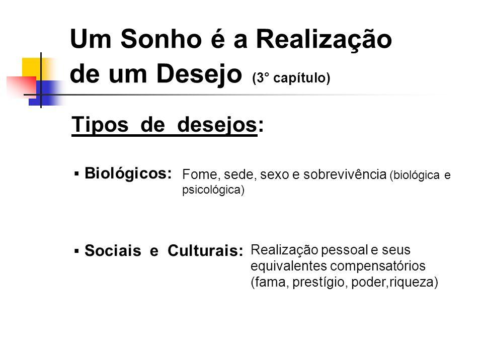 Um Sonho é a Realização de um Desejo (3° capítulo) Tipos de desejos: Biológicos: Sociais e Culturais: Fome, sede, sexo e sobrevivência (biológica e ps