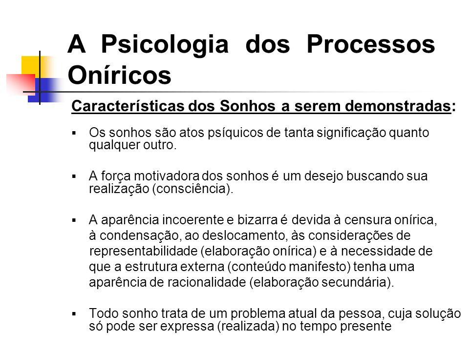 A Psicologia dos Processos Oníricos Características dos Sonhos a serem demonstradas: Os sonhos são atos psíquicos de tanta significação quanto qualquer outro.