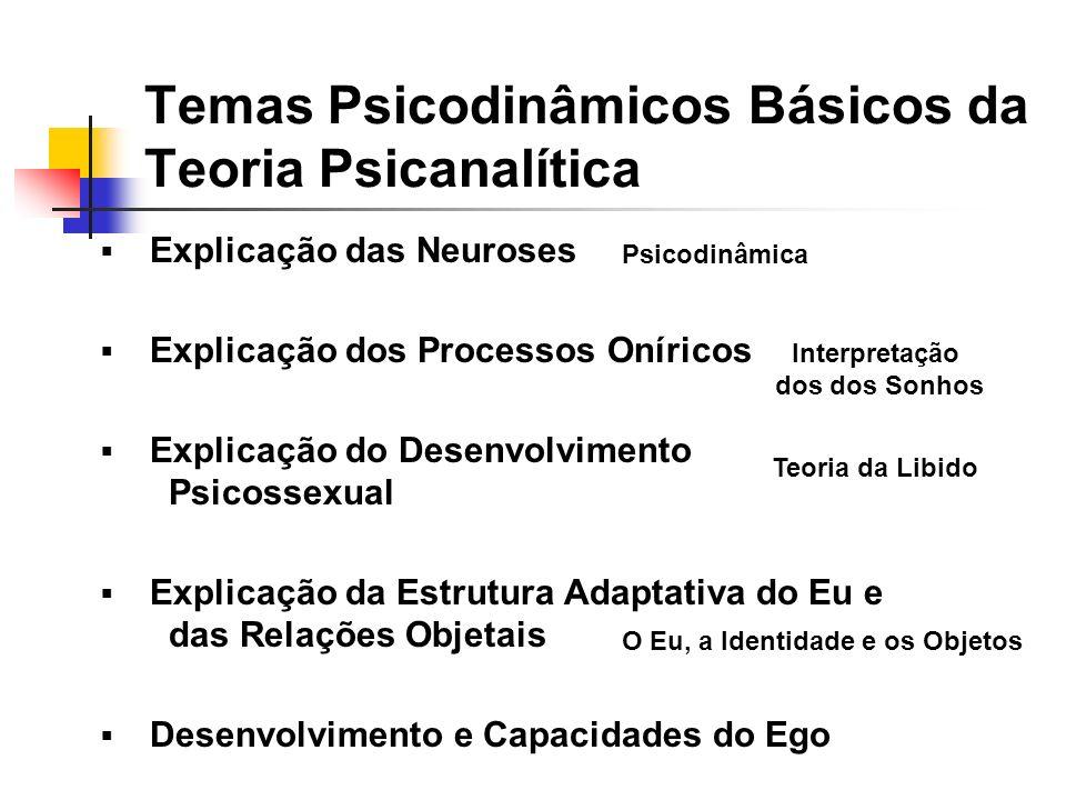 Temas Psicodinâmicos Básicos da Teoria Psicanalítica Explicação das Neuroses Explicação dos Processos Oníricos Explicação do Desenvolvimento Psicossexual Explicação da Estrutura Adaptativa do Eu e das Relações Objetais Desenvolvimento e Capacidades do Ego Psicodinâmica Interpretação dos dos Sonhos Teoria da Libido O Eu, a Identidade e os Objetos