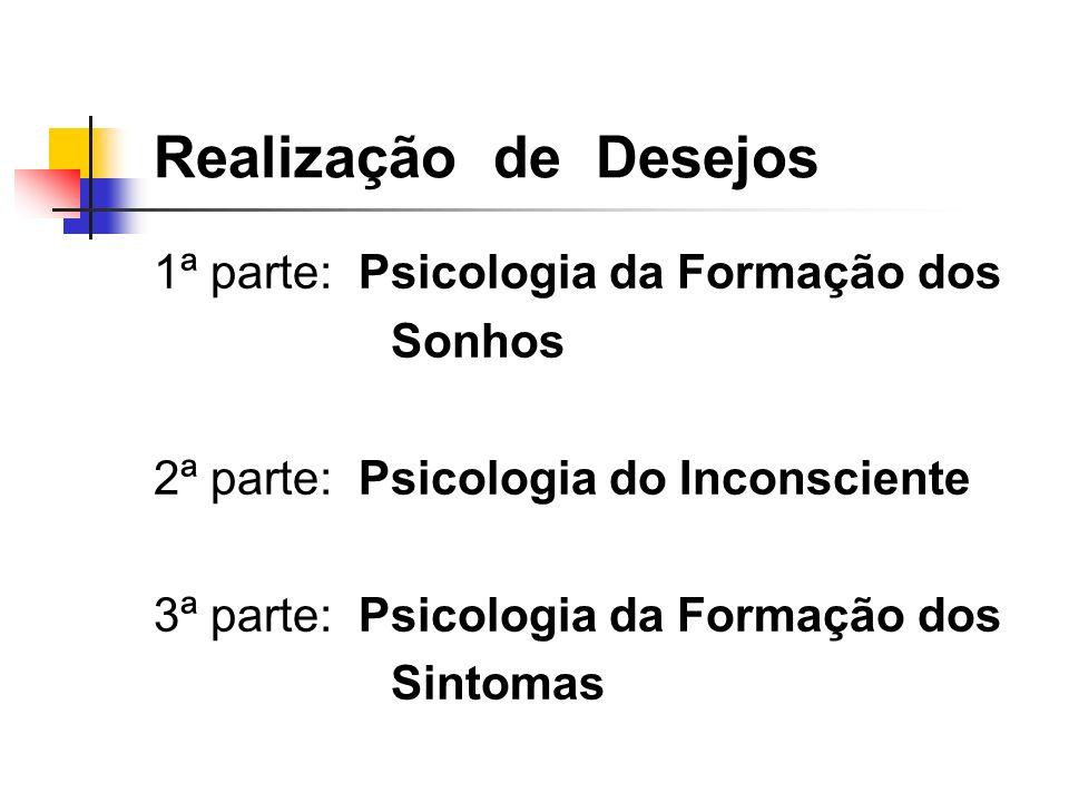 Realização de Desejos 1ª parte: Psicologia da Formação dos Sonhos 2ª parte: Psicologia do Inconsciente 3ª parte: Psicologia da Formação dos Sintomas