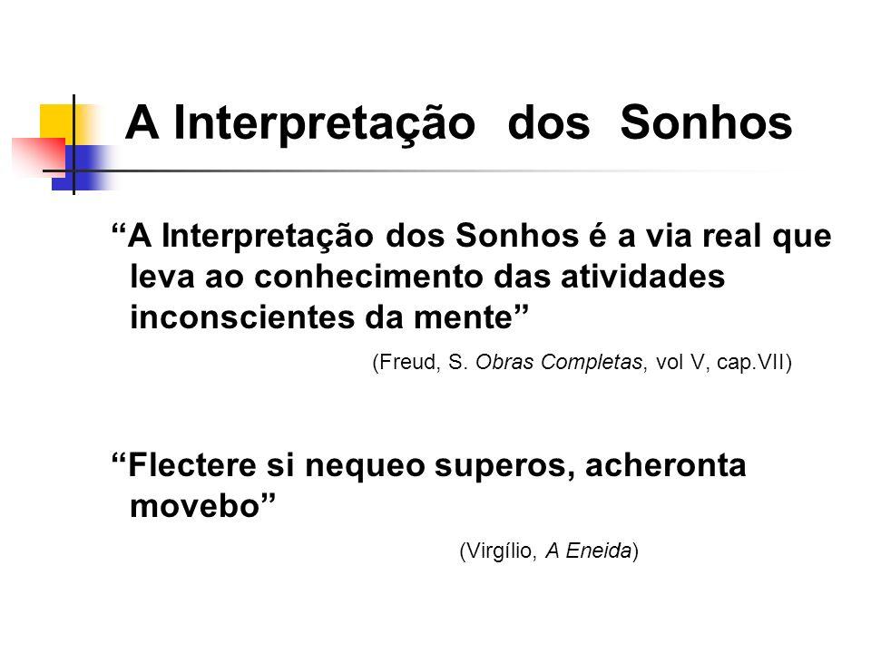 A Interpretação dos Sonhos é a via real que leva ao conhecimento das atividades inconscientes da mente (Freud, S. Obras Completas, vol V, cap.VII) Fle