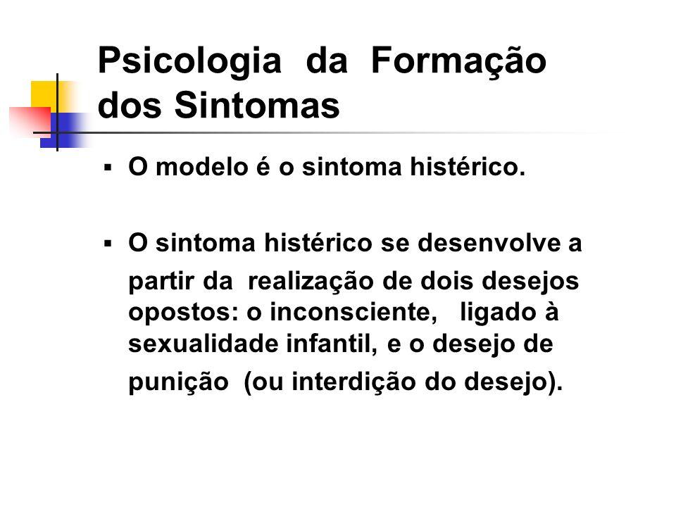 Psicologia da Formação dos Sintomas O modelo é o sintoma histérico. O sintoma histérico se desenvolve a partir da realização de dois desejos opostos: