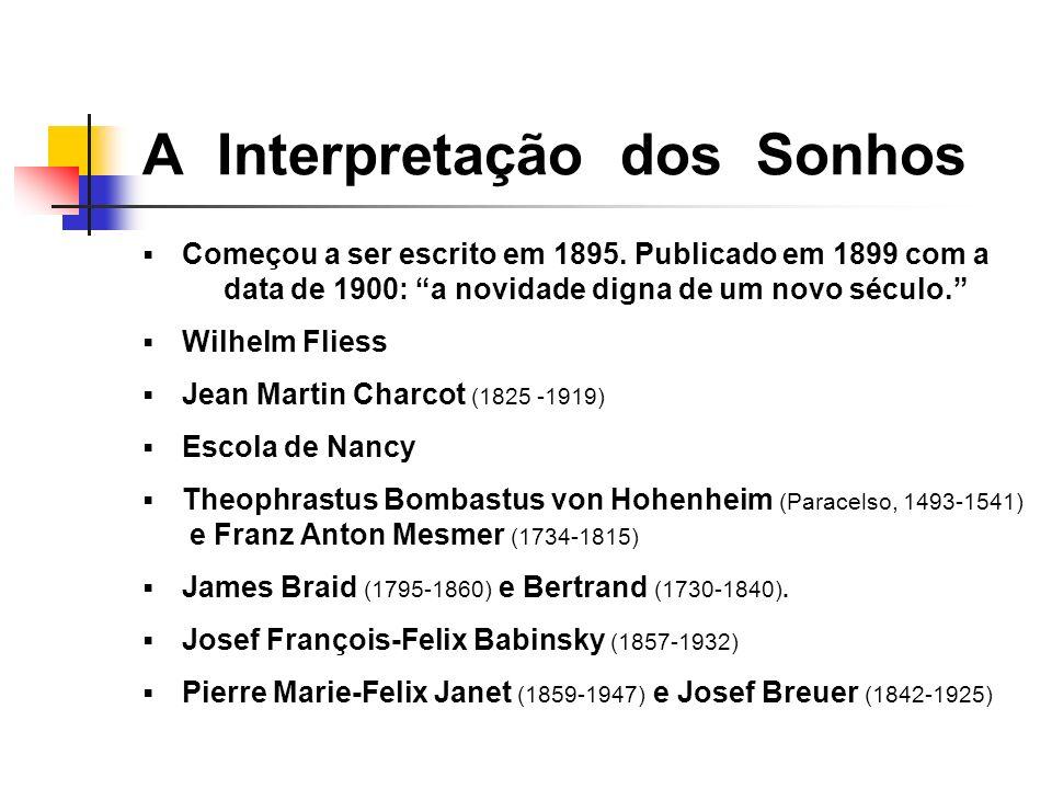 Começou a ser escrito em 1895. Publicado em 1899 com a data de 1900: a novidade digna de um novo século. Wilhelm Fliess Jean Martin Charcot (1825 -191
