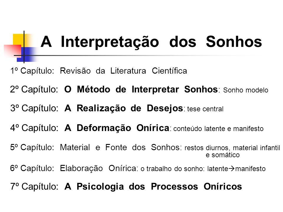 A Interpretação dos Sonhos 1º Capítulo: Revisão da Literatura Científica 2º Capítulo: O Método de Interpretar Sonhos : Sonho modelo 3º Capítulo: A Rea