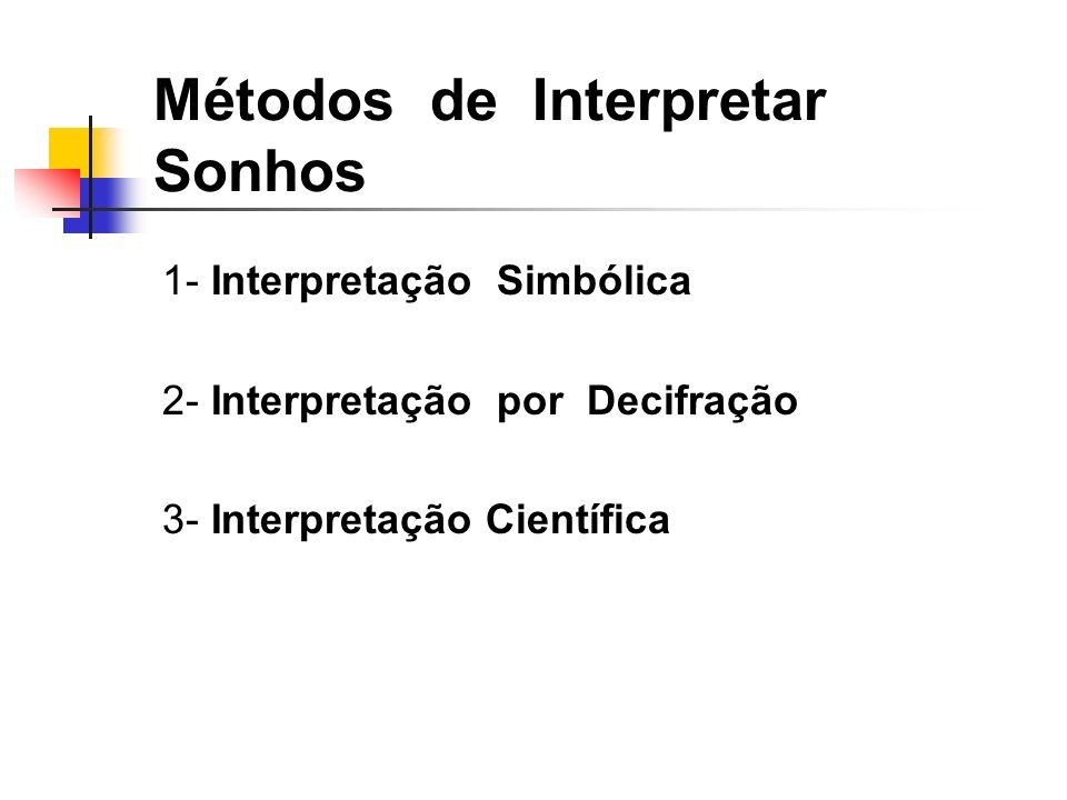 1- Interpretação Simbólica 2- Interpretação por Decifração 3- Interpretação Científica Métodos de Interpretar Sonhos