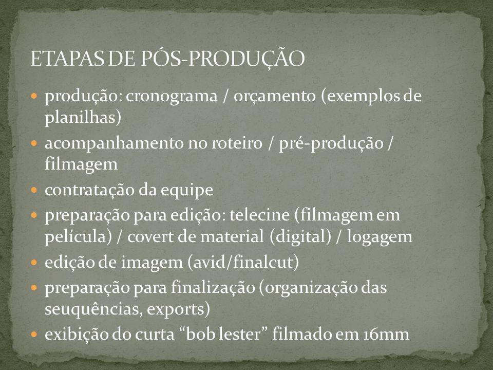 correção de cor (softwares e processo) exibição do curta frineia scanner / transfer trilha / músicas edição de som / mixagem exibição de um trecho do documentário rompiendo la ola exibição do curta sobre a mesa dublagem exibição de um trecho do curta cloro