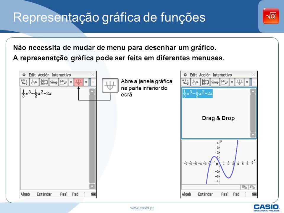 Representação gráfica de funções Não necessita de mudar de menu para desenhar um gráfico. A represenatção gráfica pode ser feita em diferentes menuses