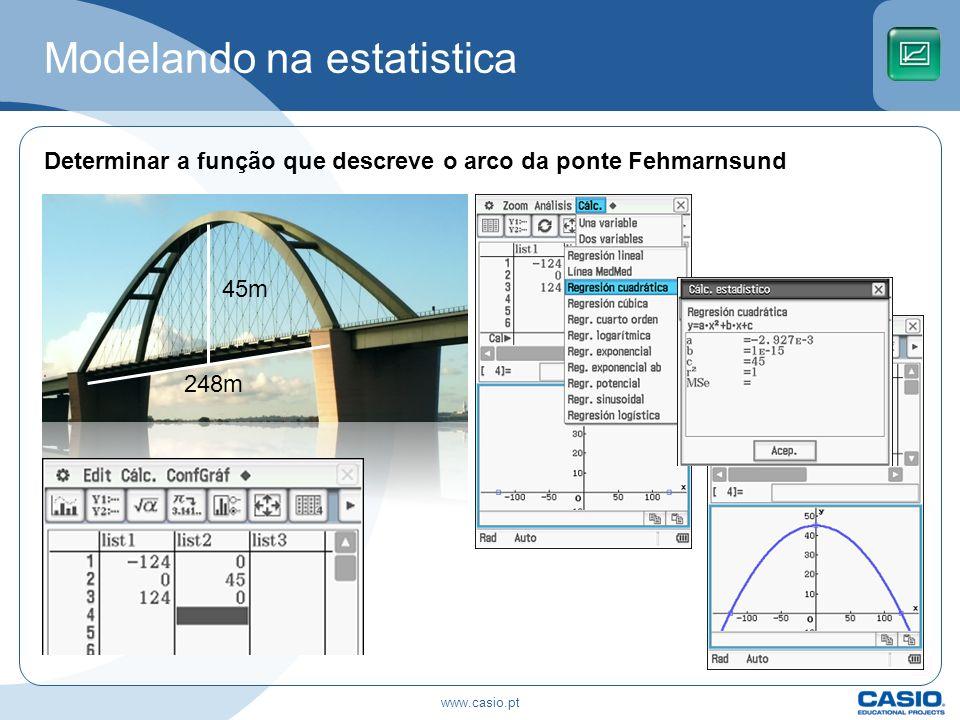 Modelando na estatistica Determinar a função que descreve o arco da ponte Fehmarnsund 248m 45m www.casio.pt