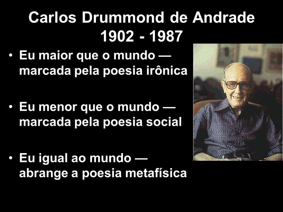 Carlos Drummond de Andrade 1902 - 1987 Poeta da segunda geração modernista, Eu maior que o mundo marcada pela poesia irônica Eu menor que o mundo marc