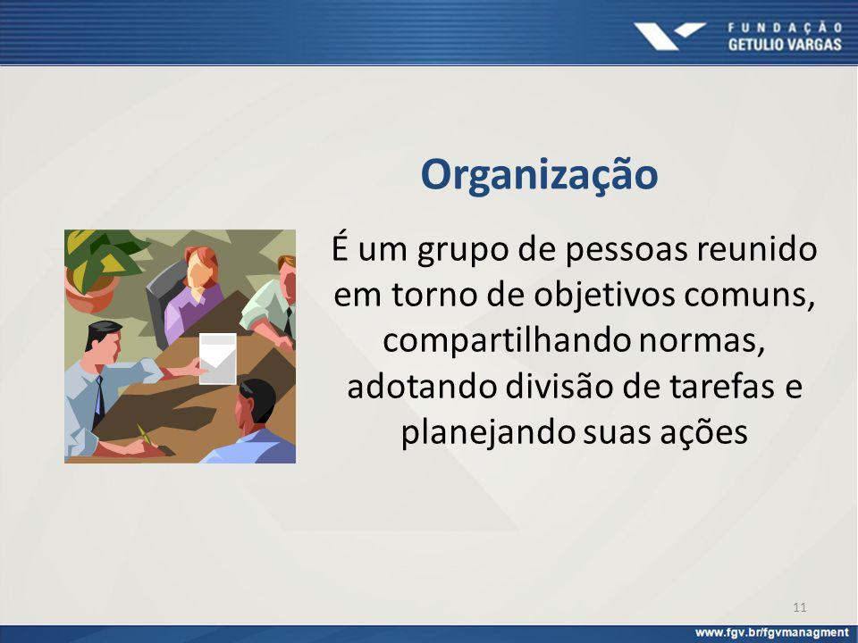 11 Organização É um grupo de pessoas reunido em torno de objetivos comuns, compartilhando normas, adotando divisão de tarefas e planejando suas ações