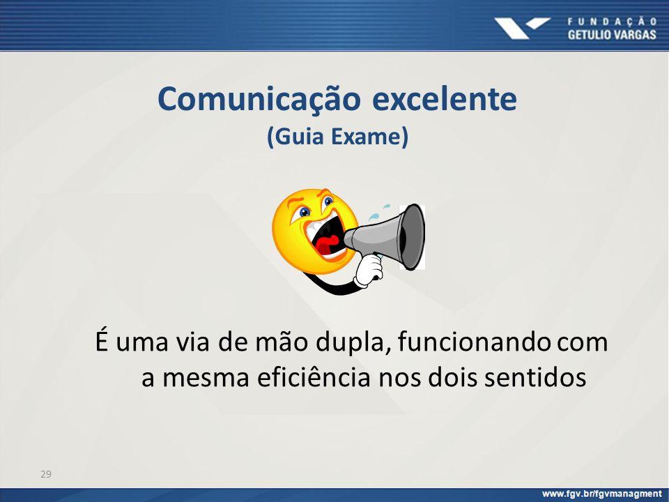 29 Comunicação excelente (Guia Exame) É uma via de mão dupla, funcionando com a mesma eficiência nos dois sentidos