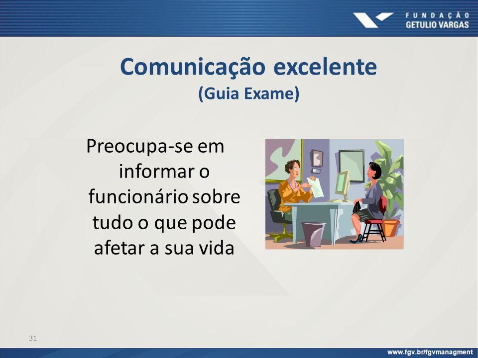 31 Comunicação excelente (Guia Exame) Preocupa-se em informar o funcionário sobre tudo o que pode afetar a sua vida