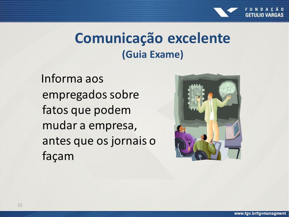 32 Comunicação excelente (Guia Exame) Informa aos empregados sobre fatos que podem mudar a empresa, antes que os jornais o façam