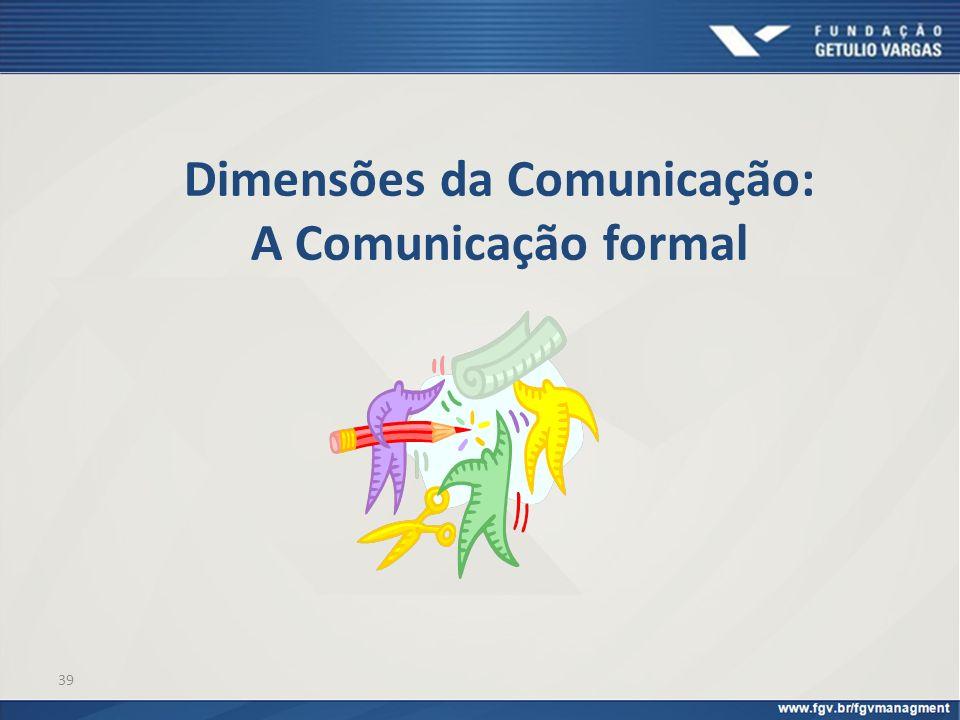 39 Dimensões da Comunicação: A Comunicação formal