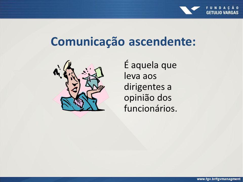 Comunicação ascendente: É aquela que leva aos dirigentes a opinião dos funcionários.