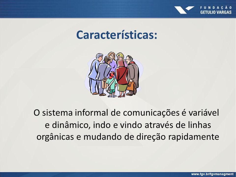 Características: O sistema informal de comunicações é variável e dinâmico, indo e vindo através de linhas orgânicas e mudando de direção rapidamente
