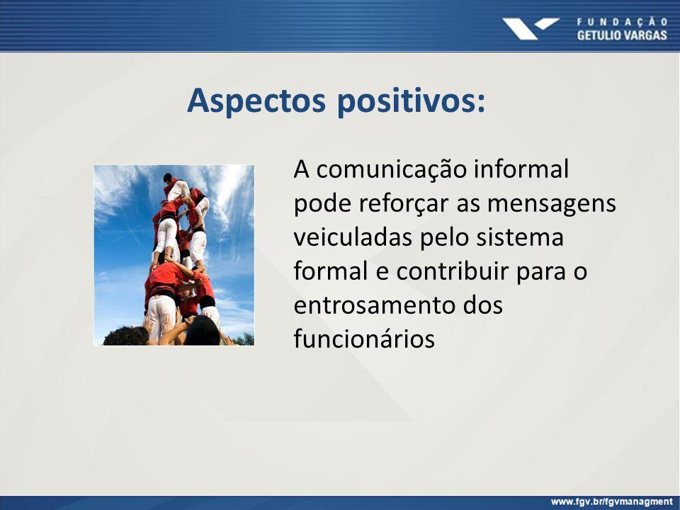 Aspectos positivos: A comunicação informal pode reforçar as mensagens veiculadas pelo sistema formal e contribuir para o entrosamento dos funcionários