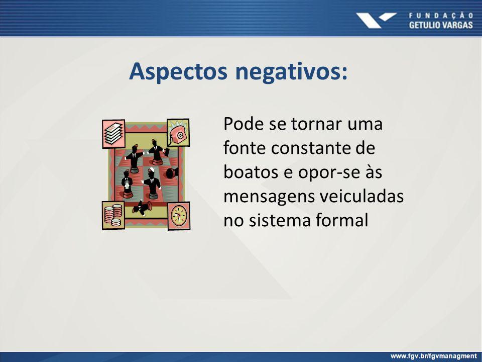 Aspectos negativos: Pode se tornar uma fonte constante de boatos e opor-se às mensagens veiculadas no sistema formal
